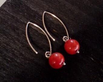 925 silver earrings red coral elegant gift for her minimalist chic modern organic hoop earrings long earrings