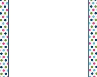 "Multi-Color Polka Dots Letterhead, 8.5""x11"", 25/PK"