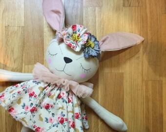 Sleepy REMY Bunny Wild ROSE Collector's OOAK Heirloom Cloth Doll
