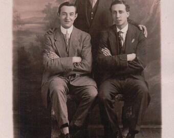Photograph Portrait of a 3 Young Men. - Postcard - Blank.