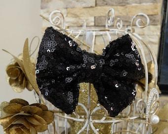 Sequin bow hair clip black bow halloween head bow halloween bow glitter bow toddler bow baby bow hair clip birthday bow hair clip