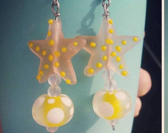 Pink beached starfish earrings