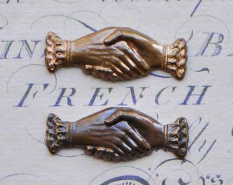 Small French Clasped Hands Stamping Antique Victorian Style Dark or Light Patina Made in France 546J