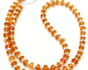 "Top quality Natural SPESSARTITE garnet smooth beads,Mandarin Garnet,Orange garnet,4 mm,14""strand[E0926] spessartite garnet"