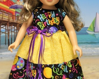 Happy Birthday Dress with floral yellow middle. Fits American Girl dolls and other 18 inch dolls.
