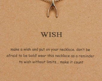 Wish Dogeared Charm Necklace- Gold Wishbone Charm- Jewelry Gift