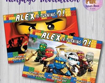 Lego Ninjago Invitation, Lego Ninjago Birthday Party, Ninjago Invite, Ninjago Party Invitation, Lego Invitation Lego Ninjas Lego Ninja Party