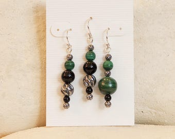Evergreen: malachite and sterling silver earrings