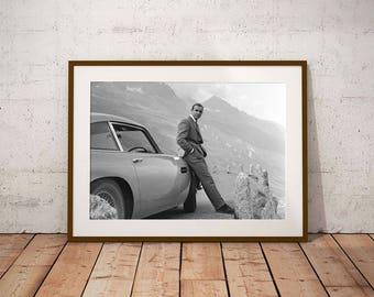 Sean Connery as James Bond Black and White Print