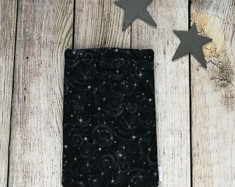Galaxy Black Padded Book Sleeve (No Pocket) - Baby My Book, booksleeve, planner pouch, planner case, book purse, star, planets, nebula,space