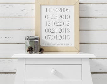 Personalized Dates-Personalized Dates Printable-Custom Dates Print-The Best Days of Our Lives Printable Date-Digital Download-Wall Art Decor