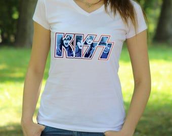 KISS Band V Neck Tshirt Gene Simmons T shirt Tee Rock Tee KISS rock T shirt Women's T-shirt shirt Heavy metal shirt KISS shirt