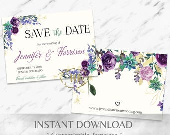 Purple and Mint Watercolor Floral Save the Date Set Templates