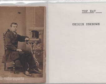 Digital Download - Antique CDV Photograph - Unknown man with top hat on antique table.