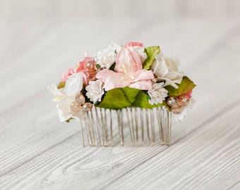 Coral wedding hair flower bridal accessories, floral hair comb bridesmaid, sea hair piece jewerly pin, Coral flower headpiece, clip rose
