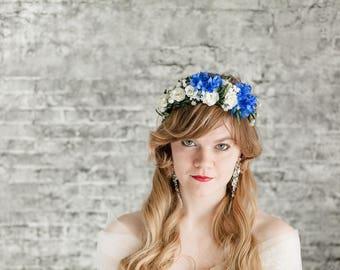 Blue bridal hairpiece, floral hair crown, bridal wreath, cornflower flower wedding, flower crown wedding, bridal Jewellery Blue flowers hair
