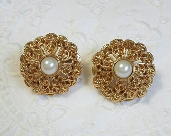 Premier Designs gold filigree and pearl clip on vintage earrings