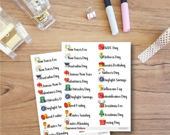 Australian Public Holidays and Observances Stickers || Planner Stickers