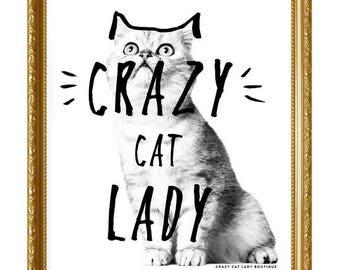 Cat Poster, Crazy Cat Lady, Cat Lover gift, Crazy Cat Lady, CCL Boutique, Cat, Cat Art, Cat Print, Home Decor,