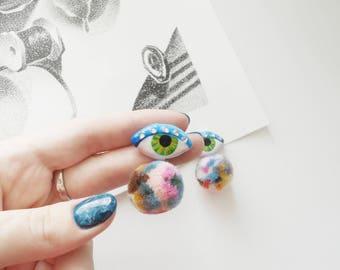 Eye Earrings, pom-pom, Evil Eye, Party Earrings, Eye Stud Earrings, Eye Jewelry, Statement Earrings, blue earrings, earrings pom-pom