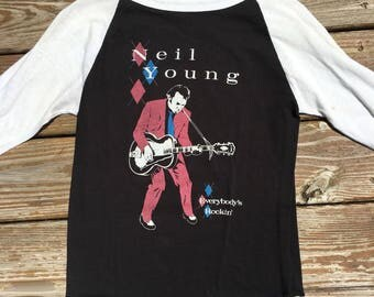1980's Vintage Neil Young Tour Rock Concert T Shirt Jersey 1983 Everybody's Rockin SZ S