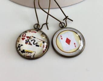 """Earrings cabochon playing cards """"ACE of diamonds"""""""