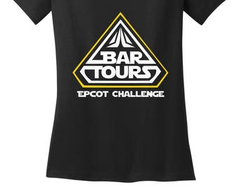 Bar Tours Epcot Food and Wine festival Beer Disney world shirt Black V Neck shirt misses and plus sizes ladies glitter gold tee