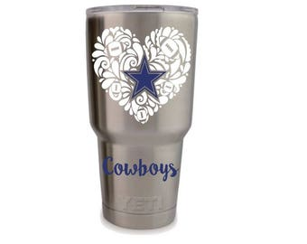 Girly Dallas Cowboys Decal, Dallas Cowboys decal for girls, Cowboys sticker, Custom Dallas Cowboys yeti, Custom Cowboys decals, Esty Decals