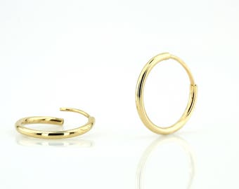 Gold Hoop Earrings / 14k Solid Gold Hoops 15MM / Thin Gold Hoop Earrings/ Tiny Gold Hoops / Simple Gold Hoops/ Rose Gold Hoops