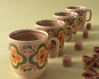 Italian espresso coffee cups 1970s,Special production Pagnossin,ceramic vintage cups,vintage flowers,retro design orange green Kitchenware