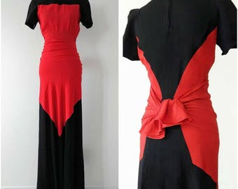 RESERVED Vintage 1940's Colour Block Gown | Vintage 1940's Colour Block Dress |