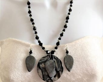 Marble Black Necklace, Statement Necklace, Beaded Necklace, Polymer Clay Necklace, Zebra Stripe Necklace, Gift for Her, Marble Necklace