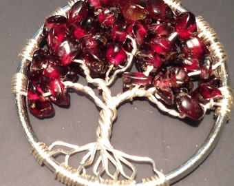 Sale! Garnet Tree of Life Necklace Pendant. Wire Silver Plated.Tarnish Resistant Silver.Silver plated Chain