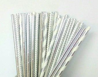 Silver Foil and White Paper Straws - Silver Drinking Straws - Silver Birthday Party Decorations - Silver Wedding Party Decorations