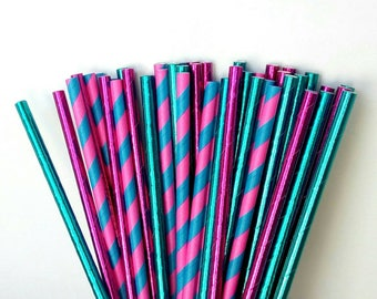 Pink & Blue Paper Straws - Metallic Pink and Blue Drinking Straws - Gender Reveal Party Decorations - Gender Reveal Party Paper Straws