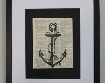Large Nautical Anchor On Upcycled Vintage Dictionary Page, Wall Décor