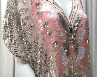 Fabulous 1980's Sparkly Sequinned Butterfly Top....