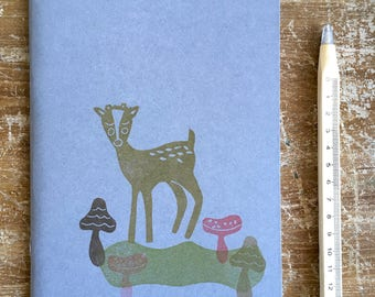 "Hand-printed ""fawn"" notebook"