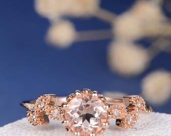 Antique Morganite Engagement Ring Peachy Morganite Rose Gold Ring Twig Flower Cluster Milgrain Beaded Anniversary Wedding Diamond Leaf Thin