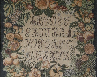 Vintage BELGIAN TAPESTRY – Featuring Fruit Floral Alphabet Design - Woven Panel - Cushion Size - Wall Hanging - Wall Décor.