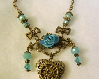 Steampunk Ornate Pendant Heart Locket Shabby French Glass Beaded Blue Bronze Rose Gears Bows Metal Jewelry Women Teen Accessory