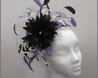 Floral headpiece, large black feather flower design fascinator with purple and pale pink, ladies day, garden party, headband, race day