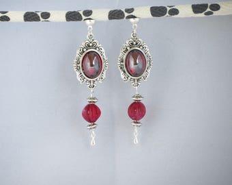 Red Swarovski® MoovClipEar pearl earrings, bouckes interchangeable earrings, gift for her