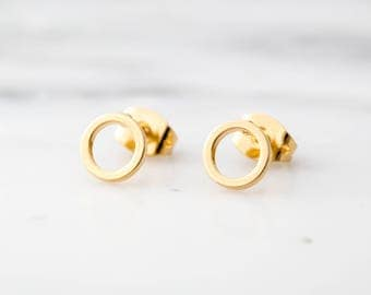 Gold Circle Earrings / Gold Circle Studs / Gold Open Circle Earrings / Gold Geometric Earrings / Dainty Earrings