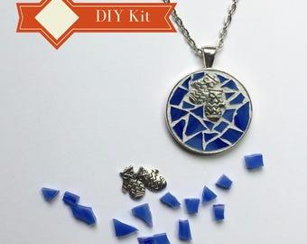 DIY Holiday GIft, Teenage Girl Gift, Pendant Necklace Kit, Do It Yourself Craft Kit Stocking Stuffer, Glass Mosaic Fun DIY Gift Activity
