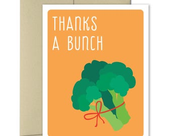 Thank you Cards - Greeting Cards - Thank you notes - Note Cards - Food Cards - Punny cards -  Puns - Thanks A Bunch Broccoli