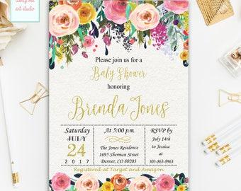 Floral Baby Shower Invitation, Watercolor Flowers Baby Shower Invitation, Gold Glitter Baby Shower  Printable Invitation, Digital File