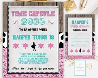 Cowgirl Time Capsule Sign, First Birthday Time Capsule, Western Time Capsule, First Birthday + Matching Note Cards, Printable Personalized