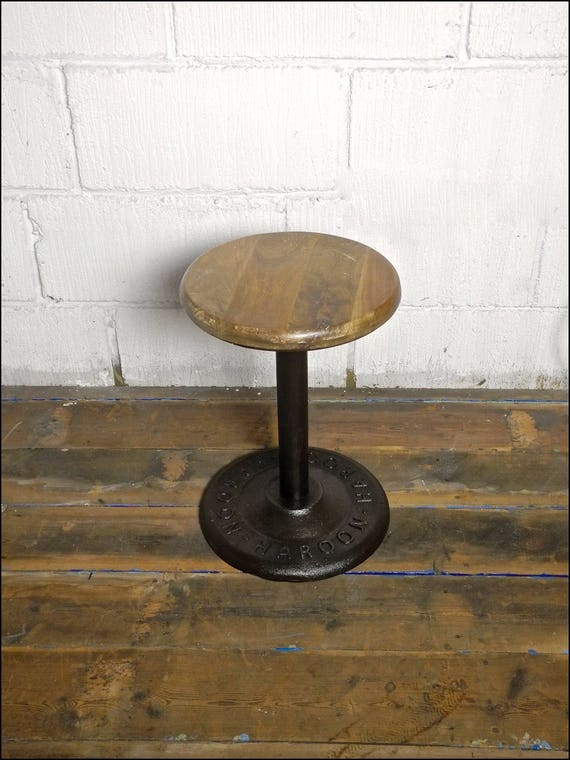 HAROON 1940's Cast Iron Base Extendable Factory Stool