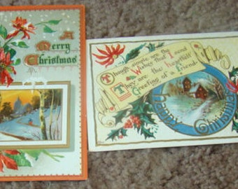 2 Vintage Embossed Postcards (Poinsettias)